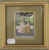 A late 19th/early 20th century Indian miniature painting on ivory, framed and glazed. 6 x 8.25 cm.