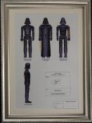 Darth Vader by The Retro Draughtman, print, signed, framed and glazed. 17 x 25.5 cm.