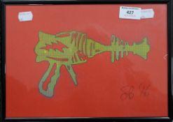 Ray Gun, signed SB, framed and glazed. 28.5 x 20 cm.