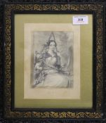 H MARTIN, a pencil drawing of a lady, dated 1845, framed and glazed. 10 x 14 cm.