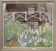 PHYLLIS GILES, Mill Garden, oil on board, initialled PMG, framed. 53.5 x 49 cm.