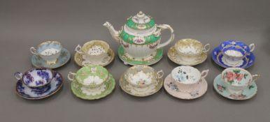 A quantity of decorative porcelain teawares