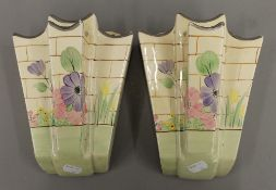 A pair of Arthur Wood Art Deco wall pockets and a Arthur Wood figural biscuit barrel.