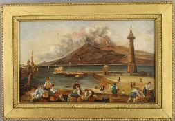 GIANNI, A View of Vesuvius, oil on board, framed. 19.5 x 12 cm.