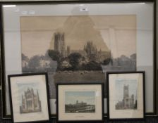 A quantity of Ely Cathedral prints, framed and glazed. The largest 76.5 cm wide overall.