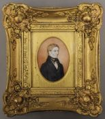 A 19th century gilt portrait miniature on ivory of a gentleman, framed and glazed.