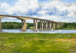 HENRIETTA CHARTERIS (20th/21st century) British, Orwell Bridge, oil on canvas, signed and dated 14.