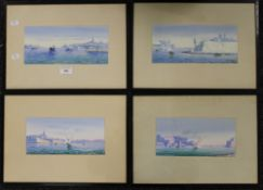 A set of four Maltese paintings, gouache on paper, indistinctly signed GALEA,