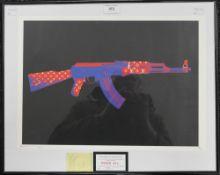 DEATH NYC, designer AK-47, framed and glazed. 45 x 32 cm.