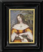 A 19th century miniature portrait on ivory of a young lady, framed and glazed. 8 x 11 cm.