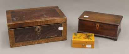 Three vintage wooden boxes. The largest 30.5 cm wide.