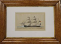 A 19th century watercolour, The Three Masted Ship ''Windward'', framed and glazed. 29 x 16.5 cm.