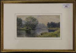 CLAUDE ROWBOTHAM, River Landscape, watercolour, signed, framed and glazed. 22.5 x 12 cm.