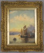 19TH CENTURY SCHOOL, Sailing Boat in a Harbour, oil on board, indistinctly signed, framed. 19 x 24.