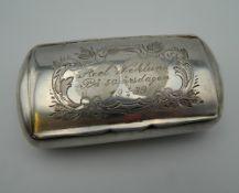 A Continental silver snuff box. 9 cm wide. 70.8 grammes.