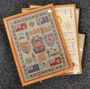 Four framed 20th century samplers/needleworks. The smallest 35 x 23 cm.