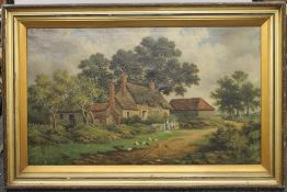 A large Victorian oil on canvas, a Family and Chickens in a Lane Before a Thatched Cottage, framed.