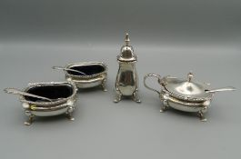 A silver cruet set. 4.3 troy ounces.