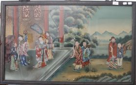A Chinese rectangular reverse painted glass panel depicting a Noble and Attendants. 94.5 x 58.