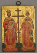 An 18th/19th century hand painted Russian icon of Saint Constantine and Saint Helena. 20 x 27 cm.