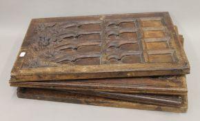 Four 19th century carved oak panels. Each 39 x 60 cm.