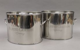 A pair of coolers, inscribed ''Alfred Gratien''. 26 cm wide.