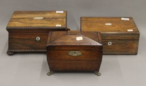 Two 19th century rosewood sewing boxes and a tea caddy. The largest 30 cm wide.