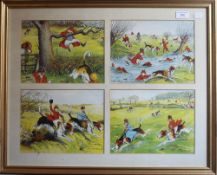 A set of twelve HARRY B NEILSON Fox Hunting cartoons, housed across three frames.