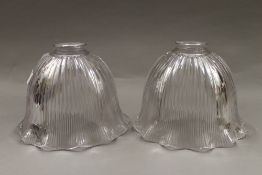 Two Holophane lamp shades. Each 15 cm high.