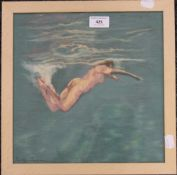 SALLY TRUEMAN (20th/21st century) British, Swimming Nude, pastel, framed and glazed. 28.5 x 28.5 cm.