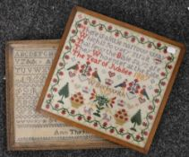 Two Victorian framed samplers, one dated 1868, the other 1887. The latter 33 x 31.5 cm.