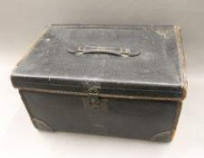 A Victorian leather trunk. 51 cm wide.