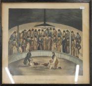 HENRY ALKEN, 'Westminster Cock Pit in 1830', print, framed and glazed. 27 x 24.5 cm.