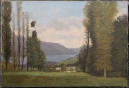 A DIZOBRY, Mountainous Lakeland Landscape, oil on canvas. 62 x 42 cm.
