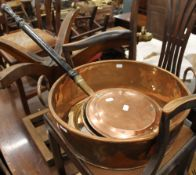 A large copper preserve pan,