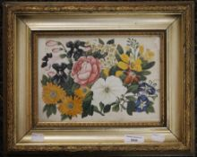 A 19th century Chinese watercolour on rice paper, Blossoming Flowers,
