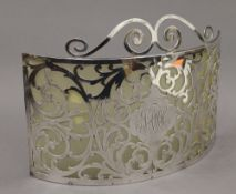 A sterling silver screen. 28 cm wide. 13.3 troy ounces total weight.