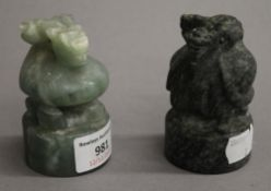 Two Chinese seals. Each 8 cm high.