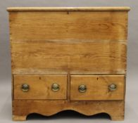 A 19th century pine mule chest. 90.5 cm wide.