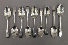 Nine Old English pattern teaspoons, hallmarked London 1805-1812,