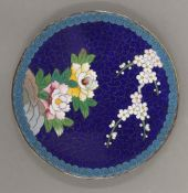 A small Japanese cloisonne dish. 12 cm diameter.