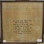 An early 19th century framed sampler,