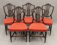A set of five mahogany Hepplewhite style dining chairs.