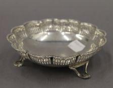 A silver pierced dish. 13 cm diameter. 3.1 troy ounces.