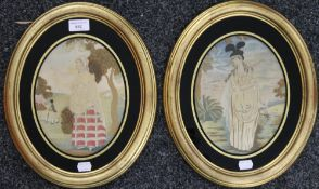 A pair of late 18th/early 19th century oval silk work pictures, each framed and glazed.