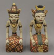 A Javanese carved wood and hand painted wedding couple (Loro Blonyo). The largest 26.