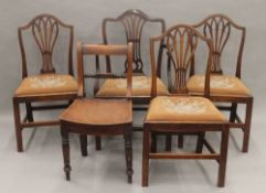 Five various 19th century mahogany chairs