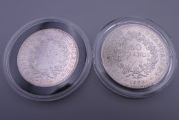 Two French cased silver coins