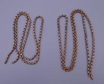 Two lengths of unmarked 9 ct gold chains. 17.8 grammes.