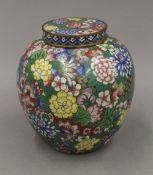 A cloisonne ginger jar. 19 cm high.